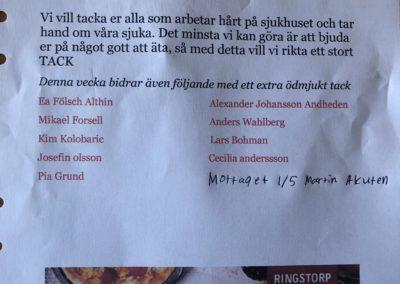 TACK Stöd lunch brev till Sjukhuset Mottaget. v-18